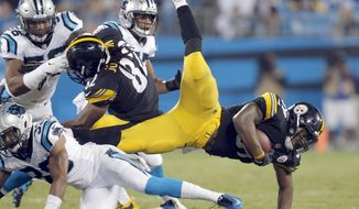 Pittsburgh Steelers' Terrell Watson, right, is upended by Carolina Panthers' Jeff Richards, left, in the first half of an NFL preseason football game in Charlotte, N.C., Thursday, Aug. 31, 2017. (AP Photo/Bob Leverone)