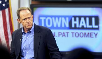 Sen. Pat Toomey holds a town-hall meeting at the WLVT / PBS 39-TV studios, Thursday, Aug. 31, 2017 in Bethlehem, Pa. Pennsylvania U.S. Sen. Pat Toomey predicts Congress will move quickly on an emergency aid package for victims of Hurricane Harvey when lawmakers return from their August recess next week. (Tom Gralish/The Philadelphia Inquirer via AP)