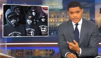 """Comedian Trevor Noah told a studio audience during """"The Daily Show"""" on Comedy Central that antifa protesters are the equivalent of """"vegan ISIS."""" (Image: Comedy Central, """"The Daily Show"""" screenshot)"""