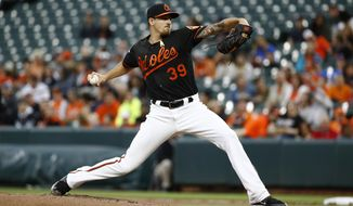 Baltimore Orioles starting pitcher Kevin Gausman throws to the Toronto Blue Jays during the first inning of a baseball game in Baltimore, Friday, Sept. 1, 2017. (AP Photo/Patrick Semansky)