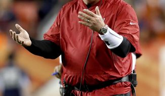 Arizona Cardinals head coach Bruce Arians yells during the first half of an NFL preseason football game against the Denver Broncos, Thursday, Aug. 31, 2017, in Denver. (AP Photo/David Zalubowski)