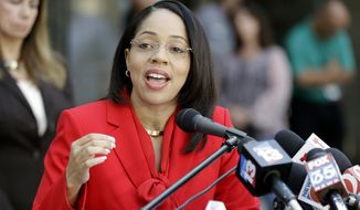 Florida State Attorney Aramis Ayala answers questions during a news conference Friday, Sept. 1, 2017 Orlando, Fla. The Florida Supreme Court has ruled first-degree murder cases can be taken from Ayala's office if she will not consider seeking the death penalty when warranted. Ms. Ayala announced on May 29, 2019 that she would not seek reelection and will leave office in 2021. (AP Photo/John Raoux) **FILE**