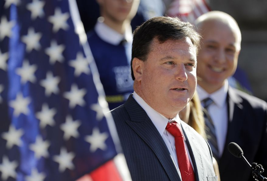 In this Aug. 9, 2017, file photo, Indiana Rep. Todd Rokita speaks during a news conference outside of the Indiana Statehouse in Indianapolis. (AP Photo/Darron Cummings, File)