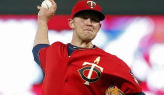 Minnesota Twins pitcher Tyler Duffey throws to a Kansas City Royals batter during the fourth inning of a baseball game Friday, Sept, 1, 2017, in Minneapolis. (AP Photo/Jim Mone)