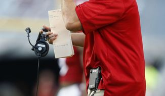 FILE - In this Sept. 17, 2016, file photo, North Carolina State head coach Dave Doeren argues a call during the first half of an NCAA college football game against Old Dominion at Carter-Finley Stadium in Raleigh, N.C. N.C. State is opening the season against a power-conference opponent for the first time under the fifth-year coach. (Ethan Hyman/The News & Observer via AP, File)