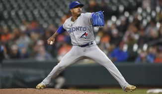 Toronto Blue Jays pitcher Marcus Stroman delivers against the Baltimore Orioles in the first inning of a baseball game, Saturday, Sept. 2, 2017, in Baltimore. (AP Photo/Gail Burton)
