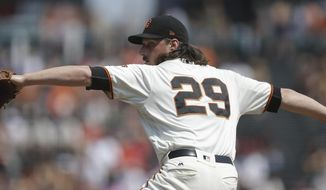 San Francisco Giants pitcher Jeff Samardzija works against the St. Louis Cardinals in the first inning of a baseball game Saturday, Sept. 2, 2017, in San Francisco. (AP Photo/Ben Margot)