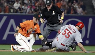 St. Louis Cardinals' Stephen Piscotty (55) is tagged out at second base by San Francisco Giants second baseman Joe Panik, left, as Piscotty tried to advance from first base on a ground ball during the fourth inning of a baseball game Friday, Sept. 1, 2017, in San Francisco. (AP Photo/Marcio Jose Sanchez)