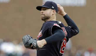 Cleveland Indians starting pitcher Corey Kluber throws during the first inning of a baseball game against the Detroit Tigers, Saturday, Sept. 2, 2017, in Detroit. (AP Photo/Carlos Osorio)