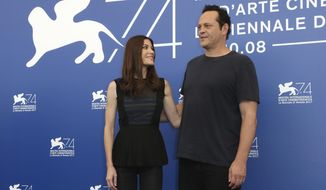 Actors Jennifer Carpenter, left, and Vince Vaughn pose for photographers at the photo call for the film 'Brawl In Cell Block 99 ' during the 74th edition of the Venice Film Festival in Venice, Italy, Saturday, Sept. 2, 2017. (Photo by Joel Ryan/Invision/AP)