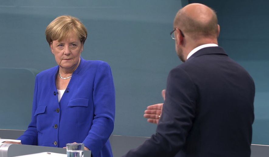 German Chancellor Angela Merkel displayed her signature reserve while ably discussing issues during the first and only debate Sept. 3 with challenger Martin Schulz. (Associated Press/File)