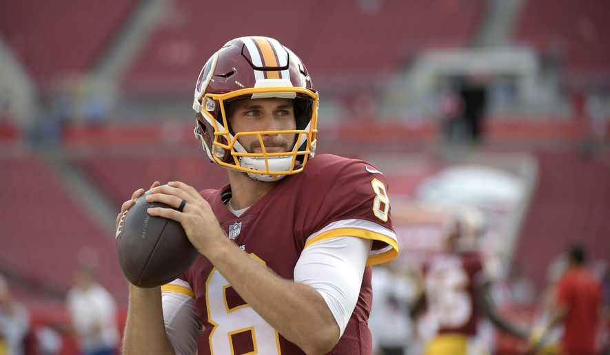 Washington Redskins quarterback Kirk Cousins (8) warms up before an NFL preseason football game against the Tampa Bay Buccaneers Thursday, Aug. 31, 2017, in Tampa, Fla. (AP Photo/Phelan M. Ebenhack)