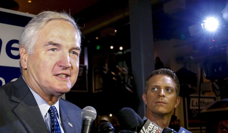 In this Aug. 15, 2017, file photo, Sen. Luther Strange speaks to media after forcing a runoff against former Chief Justice Roy Moore in Homewood, Ala. (AP Photo/Butch Dill, File)