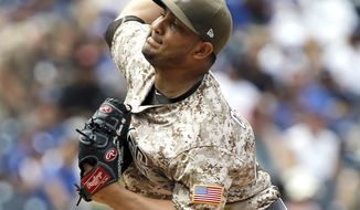 San Diego Padres starting pitcher Jhoulys Chacin throws to the plate against the Los Angeles Dodgers during the first inning of a baseball game in San Diego, Sunday, Sept. 3, 2017. (AP Photo/Alex Gallardo)