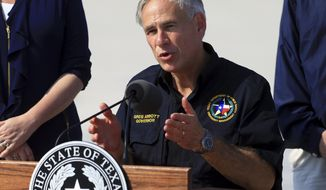 Texas Gov.r Greg Abbott talks to the media after visiting the Coastal Bend after Hurricane Harvey destroyed several homes, Thursday, Aug. 31, 2017, in Corpus Christi, Texas. (Gabe Hernandez/Corpus Christi Caller-Times via AP)