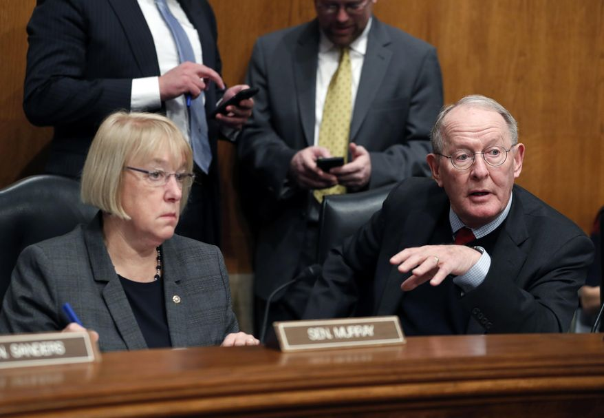 """Senate Health Education, Labor and Pensions Committee Chairman Lamar Alexander, Tennessee Republican, struck the agreement with Sen. Patty Murray, Washington Democrat, to fund pivotal """"cost-sharing"""" payments for two years. (Associated Press/File)"""