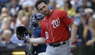 Washington Nationals' Daniel Murphy tosses his helmet after striking out against the Milwaukee Brewers during the sixth inning of a baseball game, Sunday, Sept. 3, 2017, in Milwaukee. (AP Photo/Jeffrey Phelps)