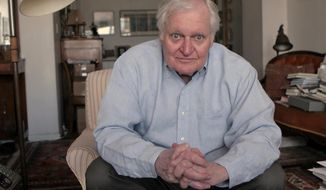 FILE - In this Sept. 29, 2008, file photo, Poet John Ashbery interviewed at his apartment in New York. Ashbery, widely regarded as one of the world's greatest poets, died Sunday, Sept. 3, 2017, at home in Hudson, New York, of natural causes, according to husband, David Kermani. He was 90. (AP Photo/Bebeto Matthews, File)