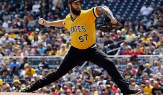 Pittsburgh Pirates starting pitcher Trevor Williams delivers in the second inning of a baseball game against the Cincinnati Reds in Pittsburgh, Sunday, Sept. 3, 2017. (AP Photo/Gene J. Puskar)