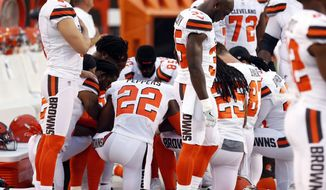 This Aug. 21, 2017, file photo shows members of the Cleveland Browns kneeling during the national anthem before an NFL preseason football game between the New York Giants and the Cleveland Browns in Cleveland. (AP Photo/Ron Schwane, file)