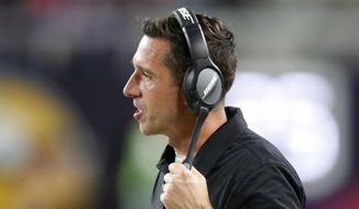 FILE - In this Aug. 27, 2017, file photo, San Francisco 49ers head coach Kyle Shanahan watches from the sideline during the second half of an NFL preseason football game against the Minnesota Vikings in Minneapolis. Shanahan is the fourth coach in San Francisco in as many years but has a six-year contract in a sign of possible stability. (AP Photo/Jim Mone, File)