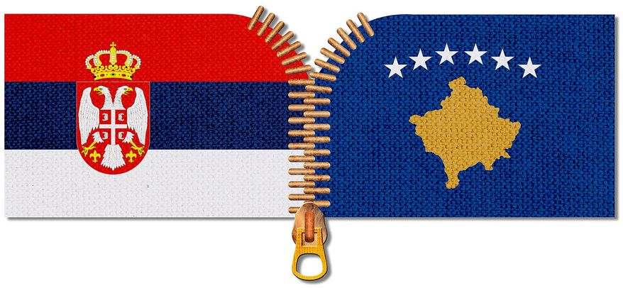 Kosovo and Serbia Working Together Illustration by Greg Groesch/The Washington Times