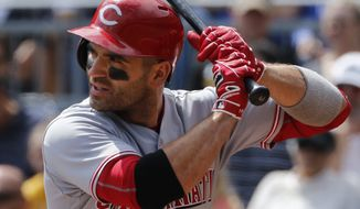 Cincinnati Reds' Joey Votto bats during a baseball game against the Pittsburgh Pirates in Pittsburgh, Sunday, Sept. 3, 2017. (AP Photo/Gene J. Puskar)