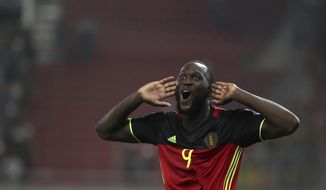 Belgium's Romelu Lukaku celebrates after scoring the goal of his team during the World Cup Group H qualifying soccer match between Greece and Belgium at Georgios Karaiskakis Stadium in Piraeus port, near Athens, Greece, Sunday Sept. 3, 2017. (AP Photo/Yorgos Karahalis)