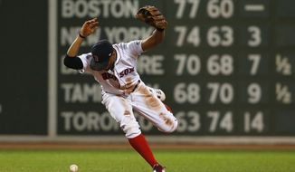 Boston Red Sox shortstop Xander Bogaerts loses the ball trying to force out a runner at second base during the second inning of a baseball game against the Toronto Blue Jays at Fenway Park in Boston, Monday, Sept. 4, 2017. (AP Photo/Winslow Townson)