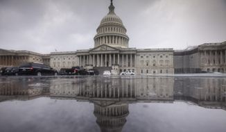 In this July 28, 2017 photo, the Capitol is seen during a heavy rain in Washington. Harvey has scrambled the equation for Congress as lawmakers return to Washington Tuesday. Having accomplished little in the first six months of the year they now face a daunting workload, but the immediate need to send aid to help Texas and Louisiana recover from the massive storm damage takes center stage, and pushes other disputes to the side.  (AP Photo/J. Scott Applewhite)