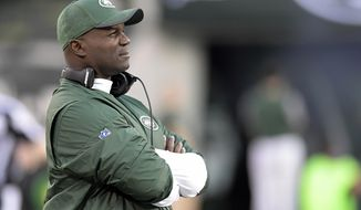 FILE - In this Aug. 31, 2017, file photo, New York Jets head coach Todd Bowles looks on during the first half of an NFL football game against the Philadelphia Eagles, in East Rutherford, N.J. Bowles enters his third season as coach of the Jets facing a tough task with the team in rebuilding mode after parting ways with several of its big-name veterans during the offseason. (AP Photo/Bill Kostroun, File)