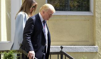 President Donald Trump and first lady Melania Trump leave after attending services at St. John's Church in Washington, Sunday, Sept. 3, 2017. The president last week named today a National Day of Prayer for victims of Hurricane Harvey. (AP Photo/Susan Walsh)