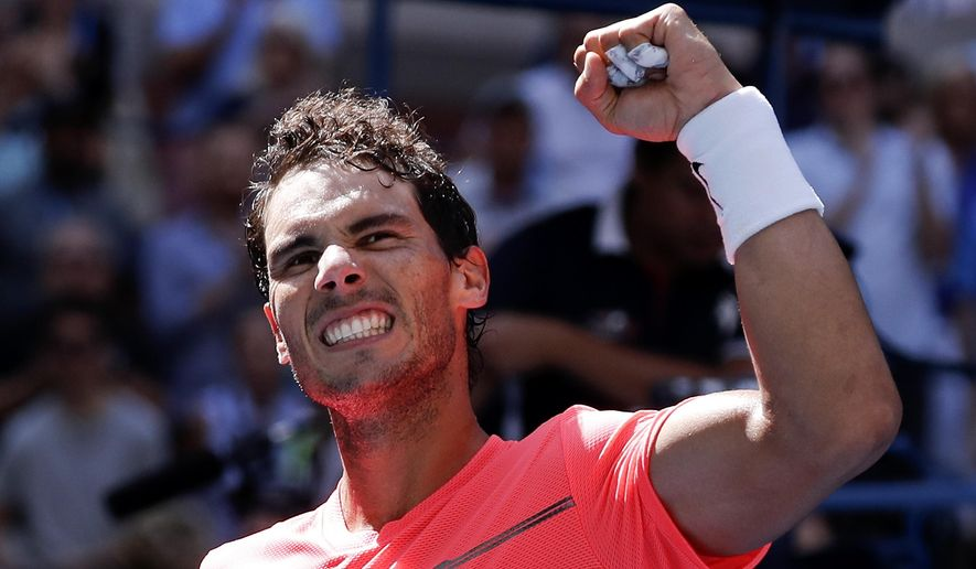Rafael Nadal, of Spain, celebrates after beating Alexandr Dolgopolov, of Ukraine, during the fourth round of the U.S. Open tennis tournament, Monday, Sept. 4, 2017, in New York. (AP Photo/Julie Jacobson)