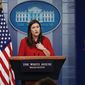 White House press secretary Sarah Huckabee Sanders at the daily news briefing on Tuesday, fielding questions on the Deferred Action for Childhood Arrivals, or DACA. (Associated Press)