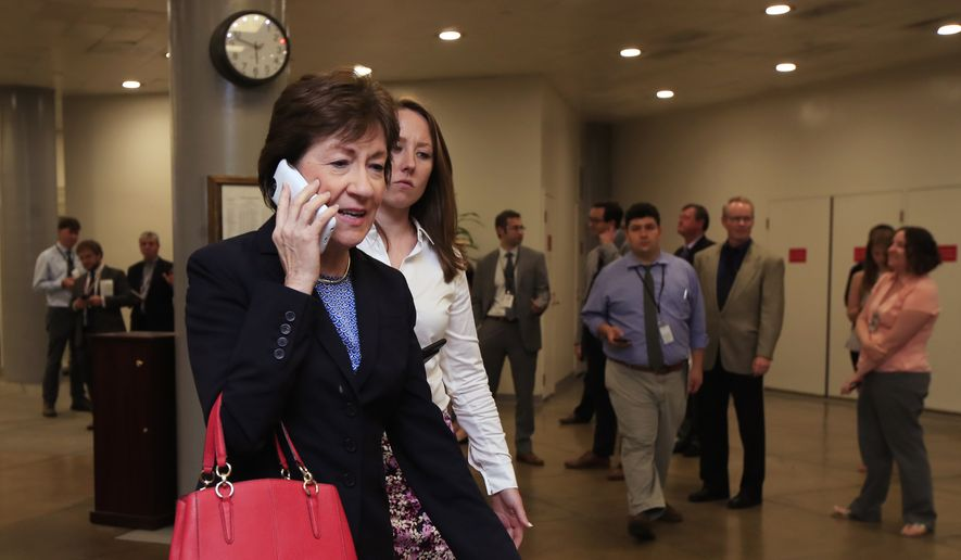 Sen. Susan Collins, R-Maine, walks towards the Senate floor on Capitol Hill in Washington, Tuesday, Sept. 5, 2017. Lawmakers returned to Washington Tuesday facing fast-approaching deadlines, including pressing demands to replenish dwindling disaster aid reserves as Texas and Louisiana dig out from Harvey and an even more powerful hurricane, Irma, bears down on the U.S. (AP Photo/Manuel Balce Ceneta)