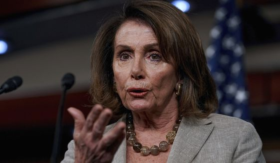 In this May 25, 2017, file photo, House Minority Leader Nancy Pelosi of California speaks at a news conference on Capitol Hill in Washington. (AP Photo/Andrew Harnik, File)