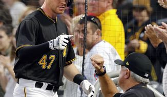 Pittsburgh Pirates' Jordan Luplow (47) is greeted by manager Clint Hurdle at the dugout steps after after hitting a two-run home run off Chicago Cubs' Kyle Hendricks during the second inning of a baseball game in Pittsburgh, Tuesday, Sept. 5, 2017. (AP Photo/Gene J. Puskar)