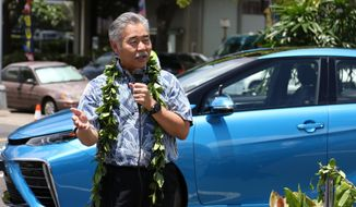 FILE - In this Aug. 2, 2017, file photo, Hawaii Gov. David Ige talks at a groundbreaking ceremony for Hawaii's first public hydrogen fueling station in Honolulu. U.S. Rep. Colleen Hanabusa of Hawaii plans to challenge Gov. David Ige in the gubernatorial race. (AP Photo/Cathy Bussewitz, file)