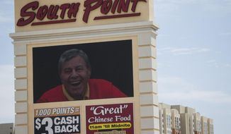 The South Point hotel-casino displays a tribute to the late actor and comedian Jerry Lewis during a private memorial at the hotel in Las Vegas, Monday, Sept. 4, 2017. (Erik Verduzco//Las Vegas Review-Journal via AP)