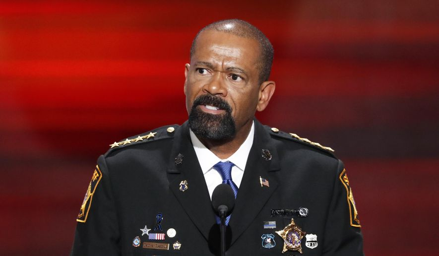 In this July 18, 2016, file photo, former Milwaukee County, Wis. Sheriff David Clarke speaks at the Republican National Convention in Cleveland. (AP Photo/J. Scott Applewhite, File)