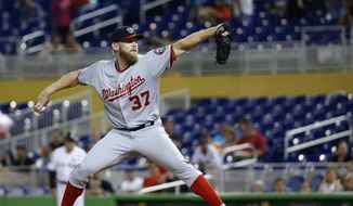Washington Nationals' Stephen Strasburg delivers a pitch during the first inning of a baseball game against the Miami Marlins, Tuesday, Sept. 5, 2017, in Miami. (AP Photo/Wilfredo Lee)