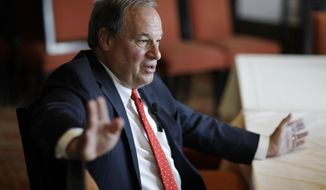 Nevada State Treasurer Dan Schwartz speaks with the media after an event Tuesday, Sept. 5, 2017, in Las Vegas. Schwartz announced that he'll run as a Republican for governor in Nevada. (AP Photo/John Locher)