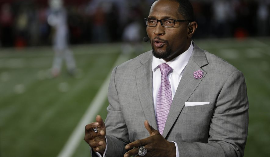 """FILE - In this Oct. 7, 2013, file photo, former Baltimore Raven player Ray Lewis speaks during a TV interview before the first half of an NFL football game between the Atlanta Falcons and the New York Jets in Atlanta. Football has been Lewis' passion since he was a child. One of his lasting memories is watching """"Inside The NFL"""" when it was hosted by Nick Buoniconti and Len Dawson. On Tuesday, Sept. 5, 2017, Lewis steps into the Showtime studios to sort of follow those Hall of Famers' footsteps. (AP Photo/David Goldman, File)"""