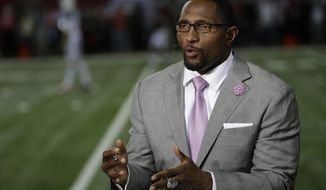 "FILE - In this Oct. 7, 2013, file photo, former Baltimore Raven player Ray Lewis speaks during a TV interview before the first half of an NFL football game between the Atlanta Falcons and the New York Jets in Atlanta. Football has been Lewis' passion since he was a child. One of his lasting memories is watching ""Inside The NFL"" when it was hosted by Nick Buoniconti and Len Dawson. On Tuesday, Sept. 5, 2017, Lewis steps into the Showtime studios to sort of follow those Hall of Famers' footsteps. (AP Photo/David Goldman, File)"