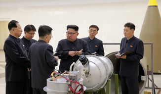 In this undated file image distributed on Sunday, Sept. 3, 2017, by the North Korean government, shows North Korean leader Kim Jong Un at an undisclosed location. (Korean Central News Agency/Korea News Service via AP, File)