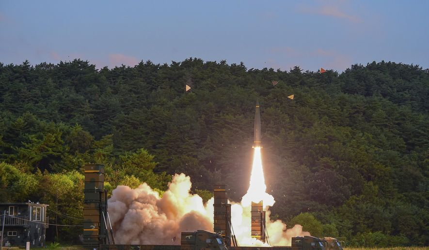 In this Monday, Sept. 4, 2017, file photo provided by South Korea Defense Ministry, South Korea's Hyunmoo II ballistic missile is fired during an exercise at an undisclosed location in South Korea. South Korean warships have conducted live-fire exercises at sea. The drills Tuesday, Sept. 5, mark the second-straight day of military swagger from a nation still rattled by the North's biggest-ever nuclear test. (South Korea Defense Ministry via AP, File)