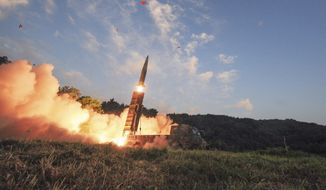 In this photo on Monday, Sept. 4, 2017, file photo provided by South Korea Defense Ministry, South Korea's Hyunmoo II ballistic missile is fired during an exercise at an undisclosed location in South Korea. (South Korea Defense Ministry via AP, File)
