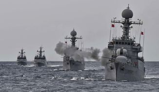 """In this photo provided by South Korea Defense Ministry, a South Korean navy ship fires during a drill in South Korea's East Sea, Tuesday, Sept. 5, 2017. South Korean warships conducted live-fire exercises at sea Tuesday as Seoul continued its displays of military capability following U.S. warnings of a """"massive military response"""" after North Korea detonated its largest-ever nuclear test explosion. (South Korea Defense Ministry via AP)"""