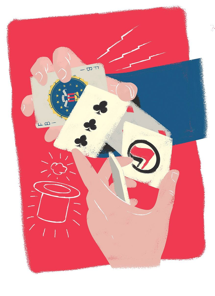 Illustration on government agency deception by Linas Garsys/The Washington Times