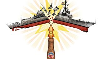 Illustration on Obama's destructive impact on the U.S. Navy by Greg Groesch/The Washington Times